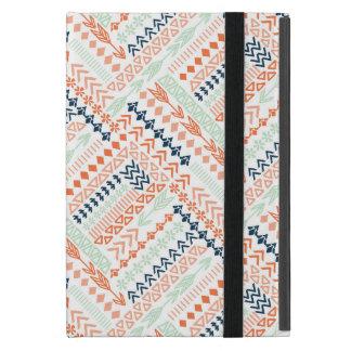 美しいオレンジおよび青の種族パターン iPad MINI ケース