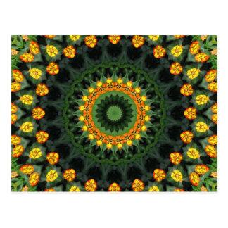 美しいオレンジおよび黄色のLantanaの万華鏡のように千変万化するパターン1 ポストカード