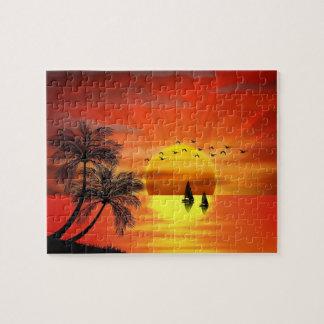 美しいオレンジ日没のベクトル芸術 ジグソーパズル