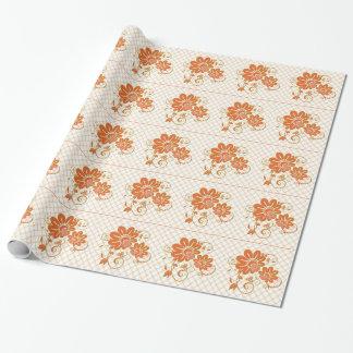 美しいオレンジ花の包装紙 ラッピングペーパー