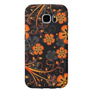 美しいオレンジ花ベクトルおよび渦巻の芸術 SAMSUNG GALAXY S6 ケース
