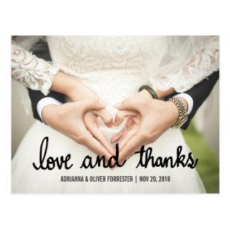 美しいカップルの写真の結婚式の愛および感謝 ポストカード