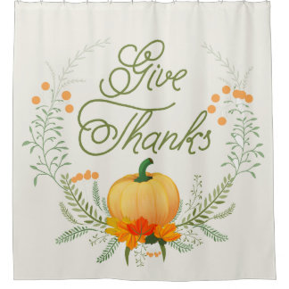 美しいカボチャ感謝祭のリースは感謝を与えます シャワーカーテン