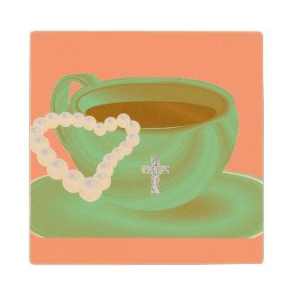 美しいコーヒーカップの真珠のハートの十字のコースター ウッドコースター
