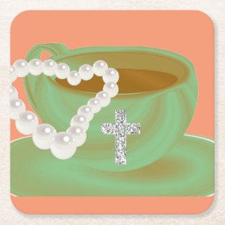 美しいコーヒーカップの真珠のハートの十字のコースター スクエアペーパーコースター
