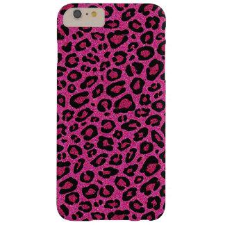 美しいショッキングピンクのヒョウの皮のグリッターの輝やき BARELY THERE iPhone 6 PLUS ケース
