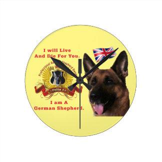 美しいジャーマン・シェパード犬 ラウンド壁時計
