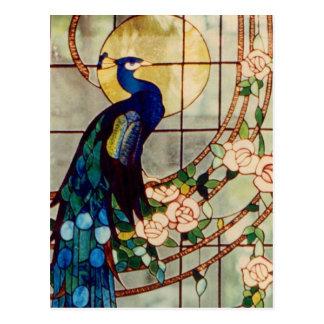 美しいステンドグラスの孔雀 ポストカード