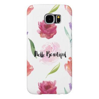 美しいバラの水彩画の花柄こんにちは SAMSUNG GALAXY S6 ケース