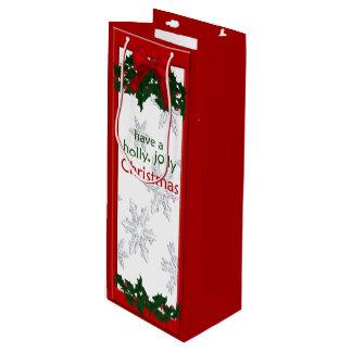 美しいヒイラギのクリスマスのワインのバッグ ワインギフトバッグ