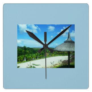 美しいビーチのテーマの正方形の時計 スクエア壁時計