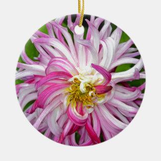 美しいピンクおよび白いダリア 陶器製丸型オーナメント