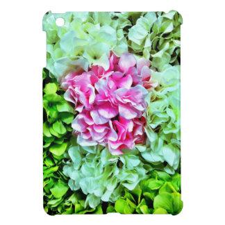 美しいピンクのクリーム色の緑のアジサイの花 iPad MINIケース