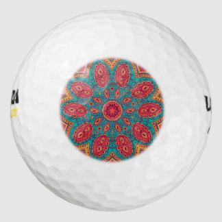 美しいピンクのティール(緑がかった色)のオレンジ禅パターン ゴルフボール