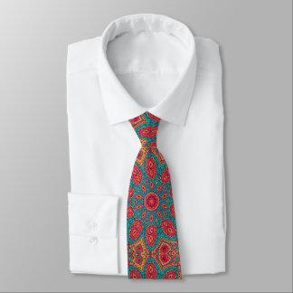 美しいピンクのティール(緑がかった色)のオレンジ禅パターン ネクタイ