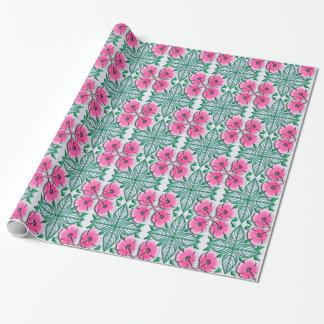 美しいピンクのハワイのスタイルの花柄パターン ラッピングペーパー