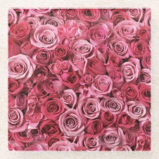 美しいピンクのバラ ガラスコースター