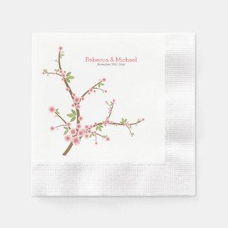 美しいピンクのプラム花 縁ありカクテルナプキン