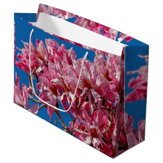 美しいピンクの受皿マグノリアの花 ラージペーパーバッグ