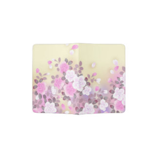 美しいピンクの白い花のベクトル芸術 パスポートカバー