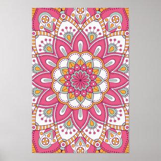美しいピンクの花のデザイン ポスター