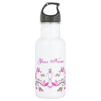 美しいピンクの花の装飾的な監視-花 ウォーターボトル