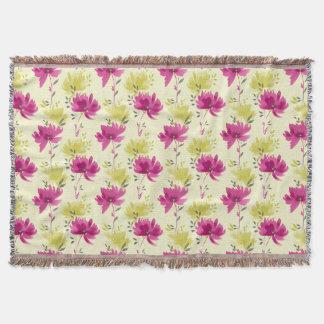 美しいピンクの花パターン スローブランケット