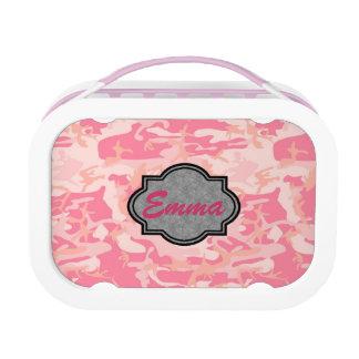 美しいピンクの迷彩柄パターンモノグラム ランチボックス