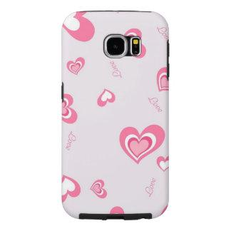 美しいピンク愛ハート SAMSUNG GALAXY S6 ケース