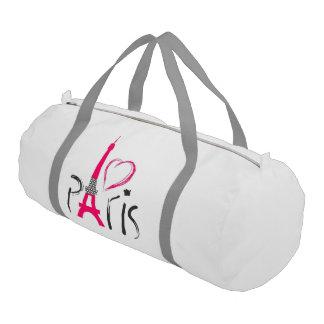 美しいピンク愛パリ ジムダッフルバッグ