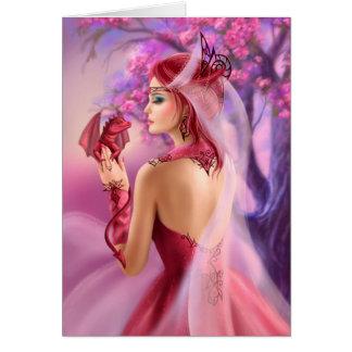 美しいファンタジーの女性の女王および赤いドラゴンを梳いて下さい カード