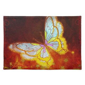 美しいファンタジーの蝶花火のコラージュ ランチョンマット