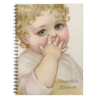 美しいベビーのキスのヴィンテージのイラストレーション ノートブック