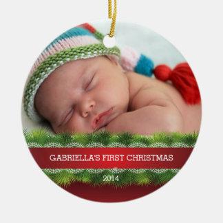 美しいベビーの初めてのクリスマスの写真のオーナメント セラミックオーナメント