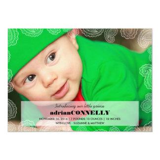 美しいペイズリーのボーダー赤ん坊の誕生の発表 12.7 X 17.8 インビテーションカード