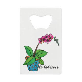 美しいポットの水彩画の蘭の植物 クレジットカード 栓抜き