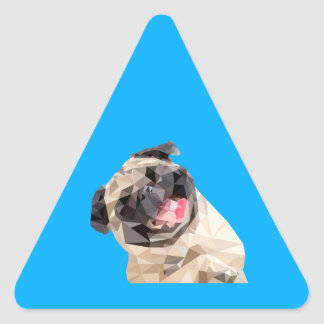 美しいモップ犬 三角形シール