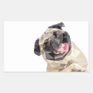 美しいモップ犬 長方形シール