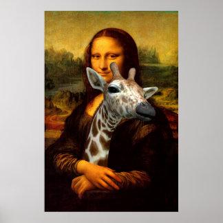 美しいモナ・リザはキリンを抱き締めます ポスター