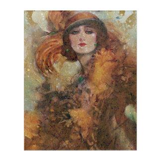 美しいヴィンテージのグランジな女性 アクリルウォールアート
