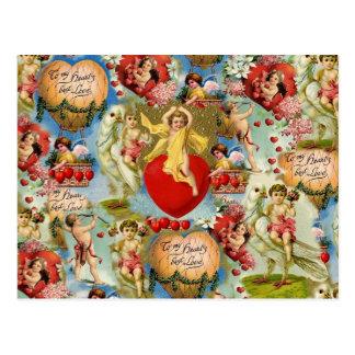美しいヴィンテージのバレンタイン愛天使のコラージュ ポストカード