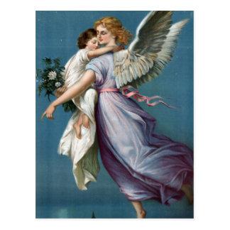 美しいヴィンテージの天使および子供の天国の芸術 ポストカード