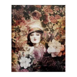 美しいヴィンテージの女性の花の抽象芸術 アクリルウォールアート