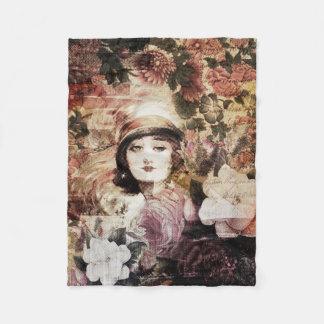 美しいヴィンテージの女性の花の抽象芸術 フリースブランケット
