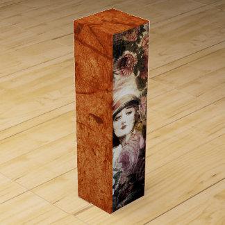 美しいヴィンテージの女性の花の抽象芸術 ワインギフトボックス