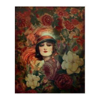 美しいヴィンテージの女性の花園 アクリルウォールアート
