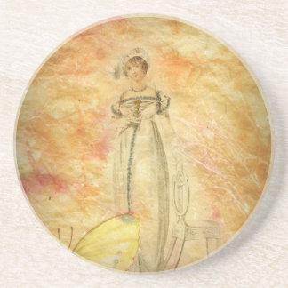 美しいヴィンテージの女性の蝶 コースター