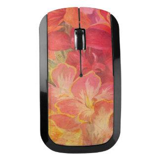 美しいヴィンテージの花柄、赤、ピンクは、ガーリー上がりました ワイヤレスマウス