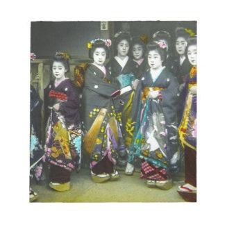 美しいヴィンテージの芸者の日本幻灯のスライド ノートパッド