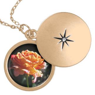 美しい三色のバラ、金ゴールドの終わりのロケット ゴールドプレートネックレス